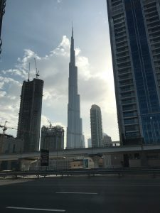 Dubai on a short stopover: Burj Khalifa From Taxi