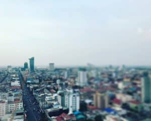 View of Phnom Penh from a roof top bar